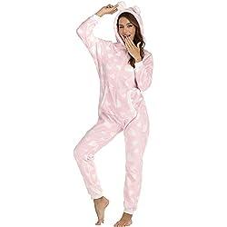 Orshoy Combinaison Pyjama pour Femme avec Capuche et Fermeture Éclair - - X-Large