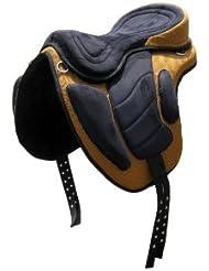 Cheval sans arçon FREEMAX Selle, 40,6cm Large Siège, marron avec motifs carrés circonférence (assorti)