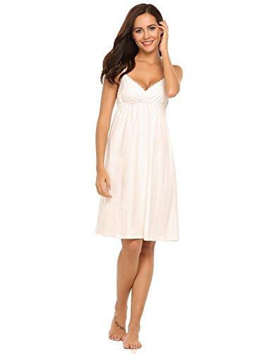 Damen Nachthemd V-Ausschnitt Baumwolle Träger Kleid mit Spitze & Retro Sommer