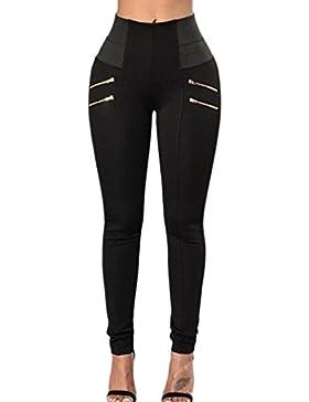 Fasumava Mujeres Verano Casual Skinny Cintura Alta Pantalones Con Cremalleras