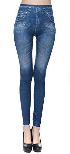 Smile YKK Pantalon Jean Legging Slim Femme Collant Fantaisie Casual Sport Elastique Minceur Bleu