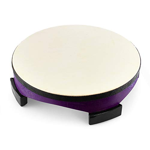 World Rhythm FD-10, 10 Inch Wooden Floor, Gathering Drum Club Childrens Percussion Instrument with 2 Beaters for Kids