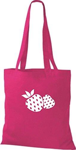 T-shirt Di Cotone Tinta Unita Borsa Di Stoffa Tua Frutta E Verdura Preferita Fragola Colore Rosa Rosa