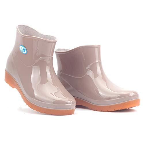 ZEELIY Freizeit Damen Low-Heeled Runde Zehe Schuhe Wasserdichte Mittelrohr Regenschuhe