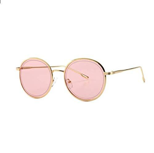 WENZHEN Ins Style Kleine Sonnenbrille mit Metallrahmen für Damen, Pink