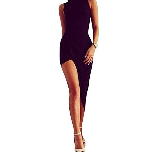 e Frauen Bodycon Mini Kleid Ärmelloses Bandage Partykleid Cocktailkleid Ärmelloses Beilages Abendkleid Schwarz Bleistiftrock Irreguläres Maxikleid (M, Schwarz) ()
