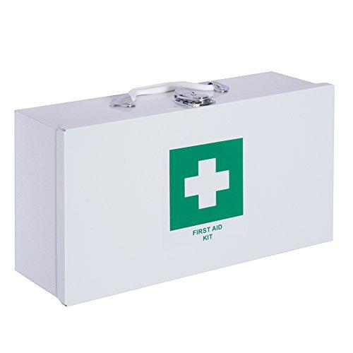 Homcom cassetta pronto soccorso armadietto porta medicinali da muro con ripiani vano 38 × 12 × 20cm