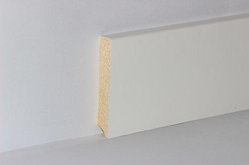 KGM Fußleiste weiß 95mm | Modern Bodenleiste weiss ✓Echtholz foliert ✓für Parkett & Laminat ✓weiße Leiste mit Starkfolie |gerade Fußleisten 16x95x2500mm - Echtholz-laminat