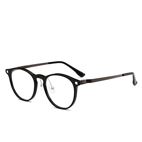 Shiduoli Runde Mode Metall Bein Brillengestell Nicht verschreibungspflichtige Brillen für Frauen, Männer (Color : Black)