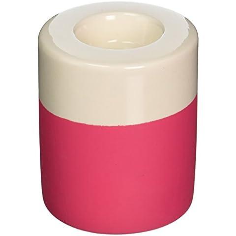Presente Dip Tiempo Es Titular Tealight Cerámica, Pequeño, rosa y crema