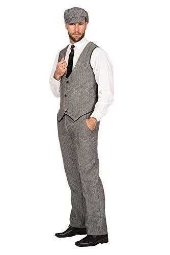 Kostüm Great 1920's Gatsby - WILBERS & WILBERS 20er Jahre Peaky Blinders Anzug Schwarz-Weiß Lange Hose Weste Mütze Schiebermütze The Roaring Twenties 20's, Größe:48