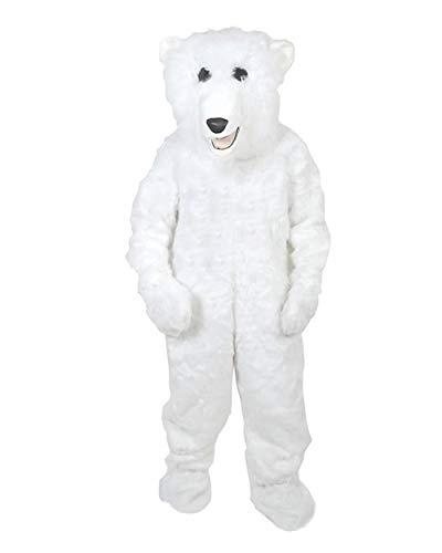Eisbär Fell Kostüm Einheitsgrösse XXL Fasching Karneval Fastnacht Maskottchen
