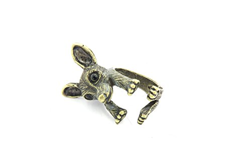 schmuck-stadt Chihuahua Welpe Ring Bronze-Farben dehnbar Hund -