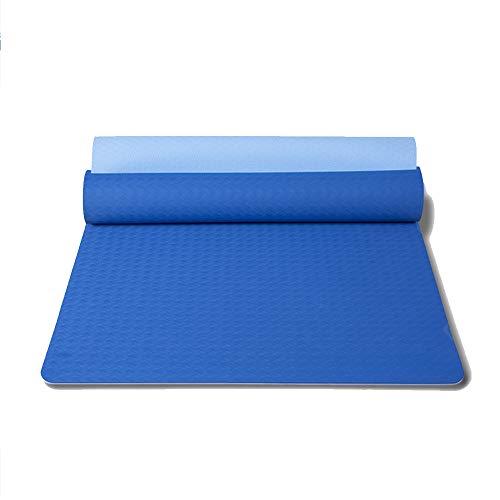 XAIOGZ Yogamatte, Trainingsmatte, Auch Für Gymnastik, Pilates Und Fitness, Weiche Und rutschfeste TPE Matte, Hypo-Allergen, Recyclebar Spezifikationen: 183 * 71 * 0,6 (cm),Blau -
