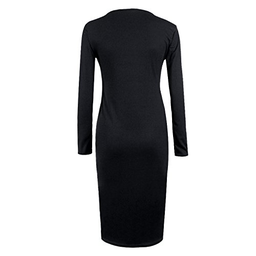 SUNNOW Design Femmes d'hiver Bouton à Manches Longues en Maille Moulante Robe Pull Noir