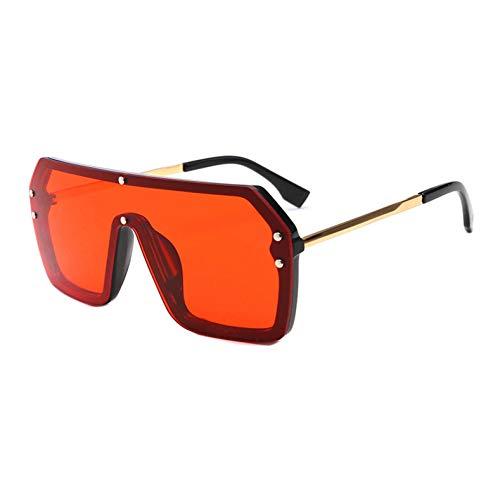 Siwen Neue Flat Top Oversize One Piece Objektiv Goggle Sonnenbrille Frauen Mode Gradient Square Shades Männer,rot