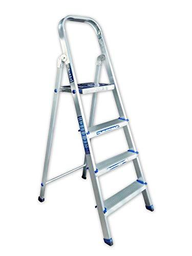 Kisha Classic 4 Steps Foldable Compact Aluminium Ladder, 160 cm/4.25 ft, Silver