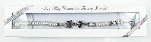 Mädchen Geschenk zur 1. Kommunion Silber Kelch Kreuz weiß Rosenkranz Perlen Armband
