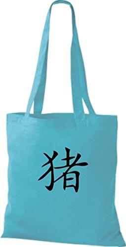 ShirtInStyle Stoffbeutel Chinesische Schriftzeichen Schwein Baumwolltasche Beutel, diverse Farbe sky blue
