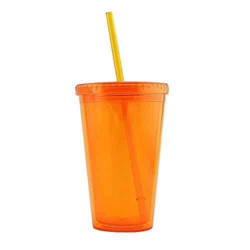COPP 500ml doppelwandiges eiskaltes Getränk Kaffee Saft Tee Tasse wiederverwendbarer Smoothie aus Kunststoff Iced Travel Mug mit Strohhalm, orange -