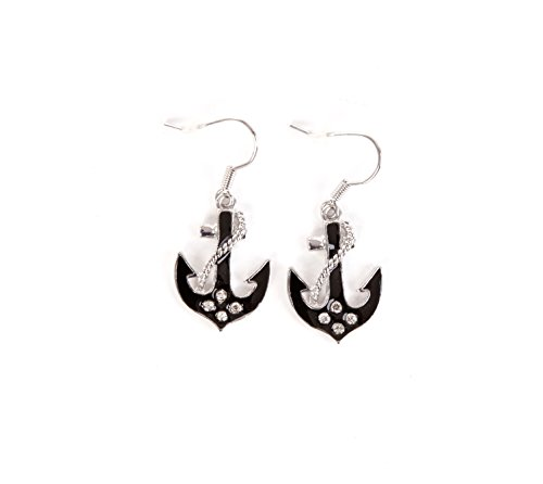 Rockabilly ankerhaken und Steuerrad Ohrringe l OHRSTECKER l Earrings l Totenkopf Fasching Cosplay l in 6 FARBEN l 100 % Metall Nikelfrei (83274-001-000)