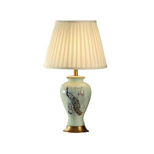 ZEZHOU Keramik Tischlampe, Alle Kupfer Blau Pfau Keramik American Nachttischlampe Einfache Wohnzimmer Tischlampe (farbe Glasur) Pfau Keramik