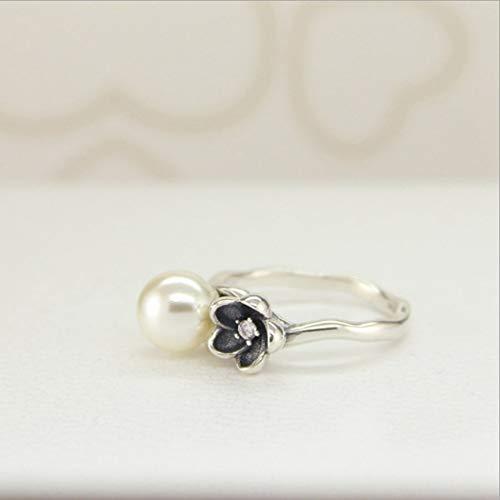 YOYOYAYA Ring 925 Sterling Silber Schmuck Imitation Pearl Blume Exquisite Dating Einfachheit Mädchen Geburtstag Gedenken Geschenk Hochzeit Romance Fantasy, 16.