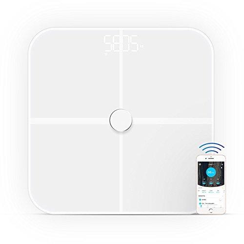 Körperfettwaage , Stoga Digitalwaage Körperfettwaage Präzision intelligentes Körperfett mit Fitness Fitness-Messtechnik BIA Dual-Frequenz-Blanc (Automatische Sperre Wifi)
