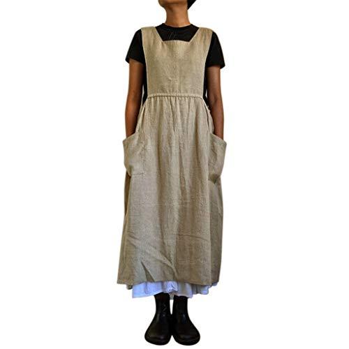 CUTUDE Damen Kleider Röcke Kurzarm Sommerkleider Frauen Mode Ärmellos Volltonfarbe Seitentaschen Lose Rock Kleid Strandkleid (Khaki, Medium)