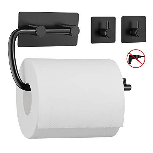 Umi. by Amazon - Toilettenpapierhalter mit zwei Haken ohne Bohren, Handtuchhalter Kleiderhaken aus 304 Edelstahl, selbstklebend mit 3M-Kleber, Badezimmer Set aus 3 Stücken -Schwarz