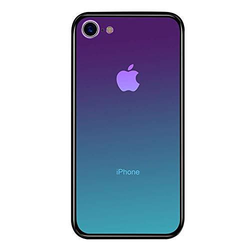 LAYJOY Funda iPhone 7, Funda iPhone 8, Ligera Carcasa Silicona Suave Negro TPU Bumper y Transparente Cristal Templado Case de Protectora Anti-Golpes, Anti-Arañazos Cover Caso (Aurora) - 4.7Pulgadas