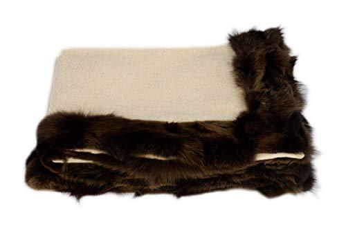 Artigiani del cashmere coperta 100% cashmere colore beige naturale (non tinto) con bordo in pelliccia vera di volpe colore marrone. 140 x 190 cm