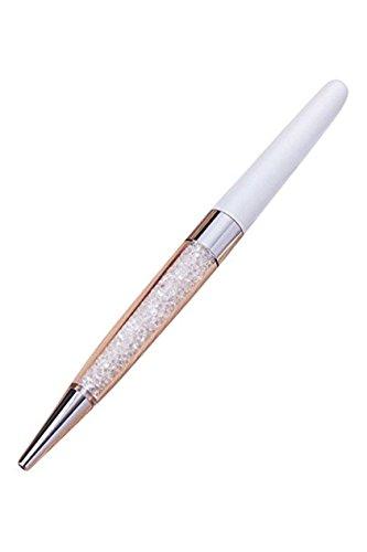 Penna a sfera in cristallo realizzata con 140 elementi di cristallo scintillante, 1 ricarica penna inclusa (bianco)