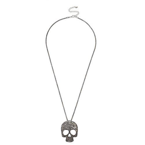 Lux accessori Burnish Collana con ciondolo teschio argento
