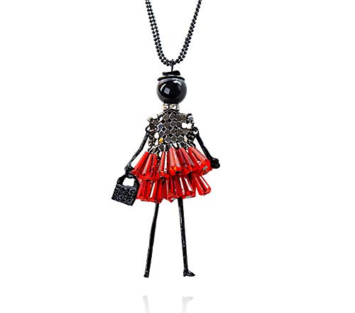Lovinda Girl Frauen Silber überzogene Pullover Kette rote Puppe Zirkon Halskette Clavicular Kette mit Anhänger Diamant Zirkon verstellbare Halskette Günstige Schmuck für Geburtstagsgeschenk