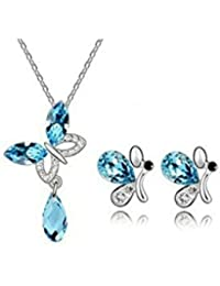 GirlZ! Blue Austrian Crystal Amethyst Butterfly Pendant With Chain And Earrings Set For Women