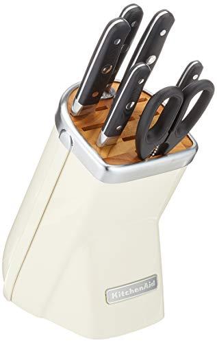 Kitchenaid Messerblock, 7-teilig, Gusseisen, 30 x 25 x 20 cm, Crème, Creme Einheiten