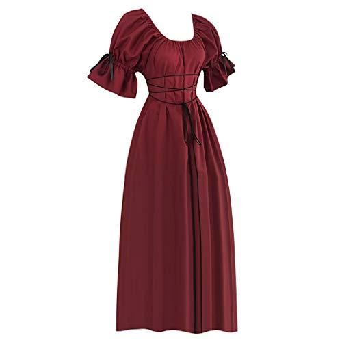 ge Kleider Frauen Kurzarm Prinzessin Renaissance Kleid Gerüscht Trompetenärmel Dünne Taille Seil Mittelalter Kleid Gothic Viktorianischen Königin Kostüm Hochzeits Formal Kleid ()