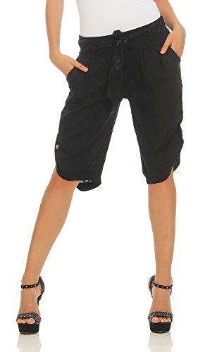 Mississhop 281 Damen Capri 100% Leinen Bermuda lockere Kurze Hose Freizeithose Shorts mit Gürtel und Knöpfen Schwarz XXL
