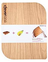 Eiche Dunkel Holz-basis (woodnflex Flexible Natur Holz Schneidebrett für Küche, USA handgefertigt von Eiche und Walnuss, rutschfeste FDA Silikon Rückseite 14x11)