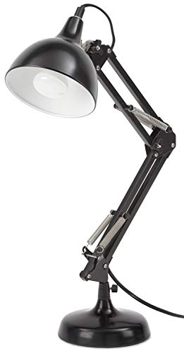 BRUBAKER Lámpara de escritorio metálica clásica - con brazo articulado regulable en altura - hasta 53 cm de altura - negro