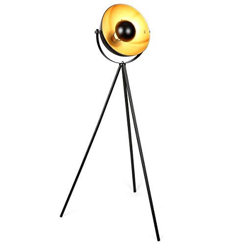 Lámpara de pie vintage - Lámpara de Suelo, pantalla negro-dorado Ø 32 cm, casquillo E27, Máx. 60W, diseño retro,147 cm lámpara de pie, interruptor de pie,metal,para salón, dormitorio y estudio