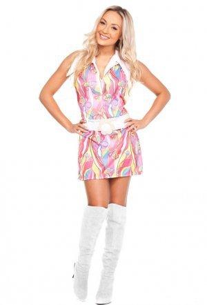 Rosa Kostüm Sexy - Sexy Hippie-Kostüm WOODSTOCK Retro-Kleid - ROSA, Größe:38