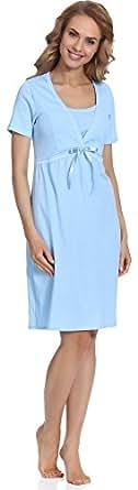 Italian Fashion IF Camicie da Notte per Allattamento Dolores 0114 (Blu, XL)