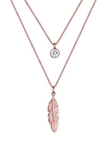 Elli Halskette Damen Feder Boho Swarovski Kristalle in 925 Sterling Silber Piuma