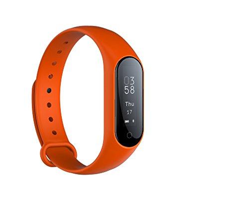 Fitness Activity Tracker Monitor de ritmo cardíaco en tiempo real, pulsera inteligente Fitness Pulsera Podómetro con Step Tracker / Contador de calorías / Sleep Tracker Notificación de llamadas Push para iPhone iOS y Android Phone (ORANG)