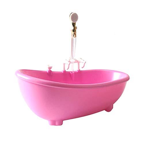 Toyvian Piscina con Vasca a spruzzo elettrica per irrorazione dell'Acqua Senza Batteria per Bambola (Rosa)
