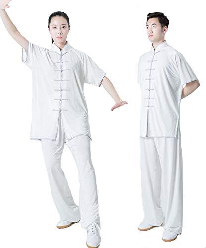 Martial Arts Kostüm - FYUUN Tai Chi Anzug Damen Herren Kung Fu Uniformen Kampfsport Baumwolle Martial Arts Morning Performance Kostüm Milchseide Chinoiserie Unisex,White-XL