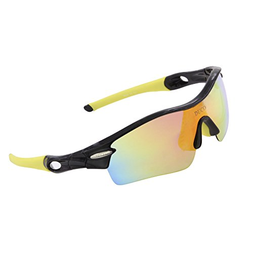 DUCO Polarized Sports Sunglasses with 5 Interchangeable Lenses UV400 Protection Sports Sunglasses for Cycling Running Glasses 0026(Black Yellow)