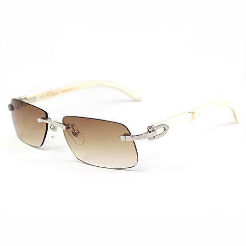 LKVNHP Neue Hochwertige Randlose Sonnenbrille Herren Holz Und Natur Shield Herren Driving Shade Eyewear Markendesigner SonnenbrilleWeiß Horn Silber
